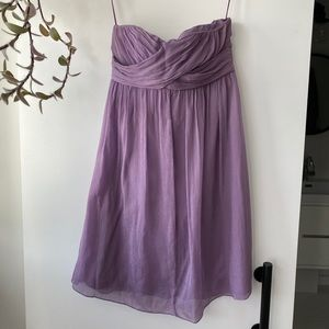 J.Crew Silk chiffon strapless lilac dress